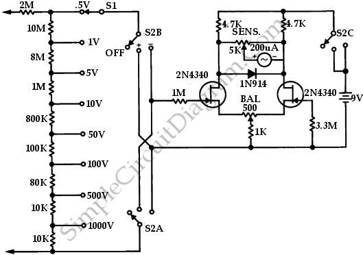 fet voltmeter circuit schematic diagram wiring diagrams user 5 Point Meter Schematic Drawing