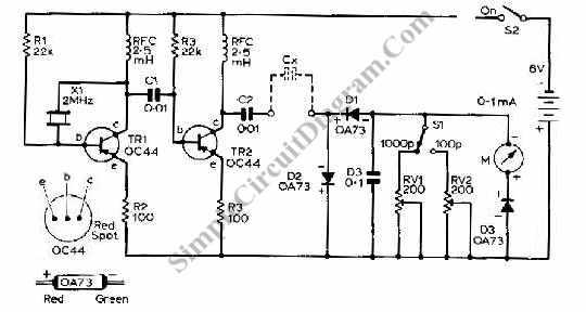 transistor capacitance meter circuit