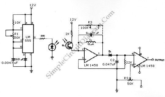 555 Infrared Transmitter Receiver circuit schematic diagram