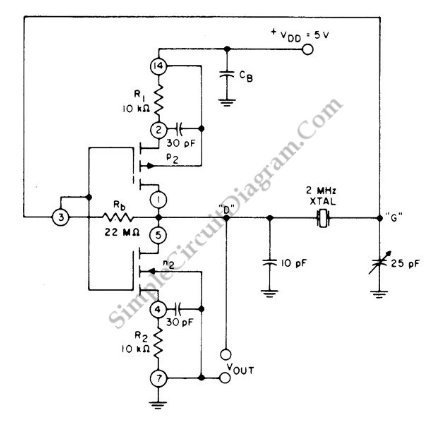 2 Mhz Crystal Using Cmos Pair circuit schematic diagram