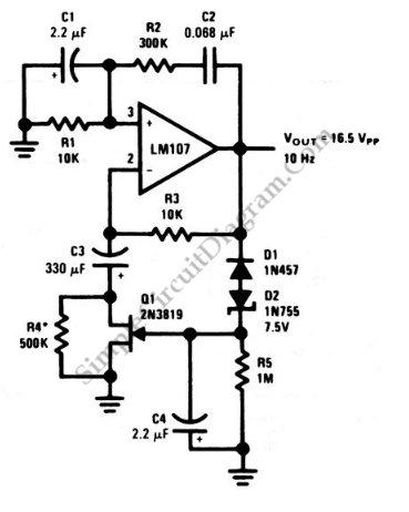 Wien bridge sine wave oscillator circuit schematic diagram