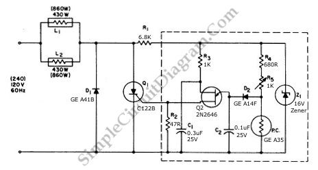 860 Watt Limited Range Low Cost Precision Light Control circuit schematic diagram