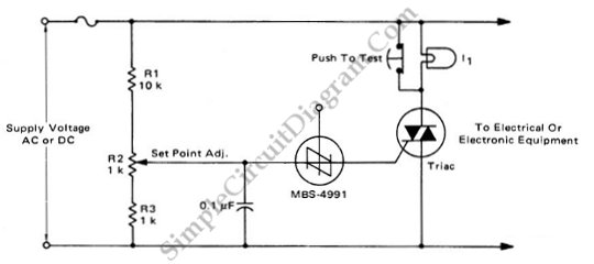 TRIAC Crowbar For AC Or DC Lines – Simple Circuit Diagram on