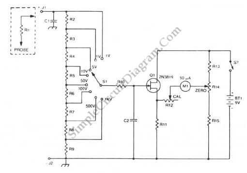 fet buffered analog voltmeter  u2013 simple circuit diagram