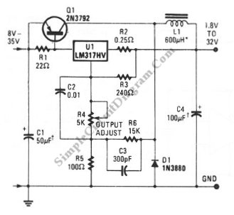 Low Cost 3 A Switching Regulator circuit schematic diagram