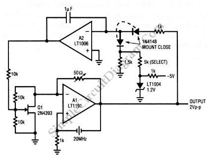 Quartz stabilized oscillator with electronic gain control circuit schematic diagram