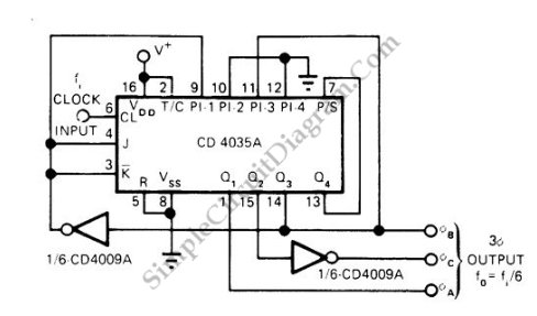 Pulse generator produces 3 phase output simple circuit diagram three phase pulse generator circuit schematic diagram cheapraybanclubmaster Images