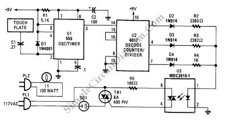 Three Way Touch Lamp circuit schematic diagram