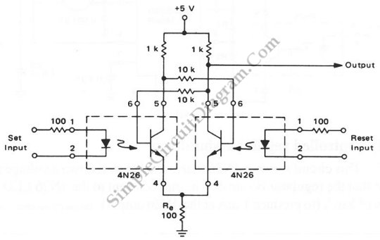 Opto-Coupled RS Flip-Flop   Simple Circuit Diagram