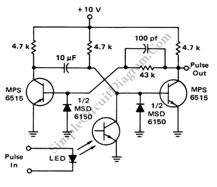 Photo driven pulse stretcher circuit schematic diagram