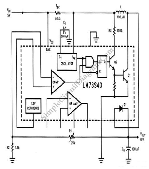 lm78s40 5v to 15v step up voltage regulator simple circuit diagram