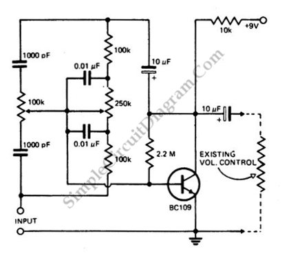 tone control simple circuit diagram rh simplecircuitdiagram com DC to AC Converter Circuit Amplifier Circuit Diagram